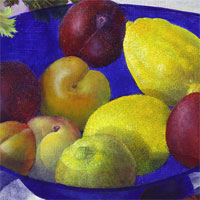 Fruit in a Blue Glass Bowl